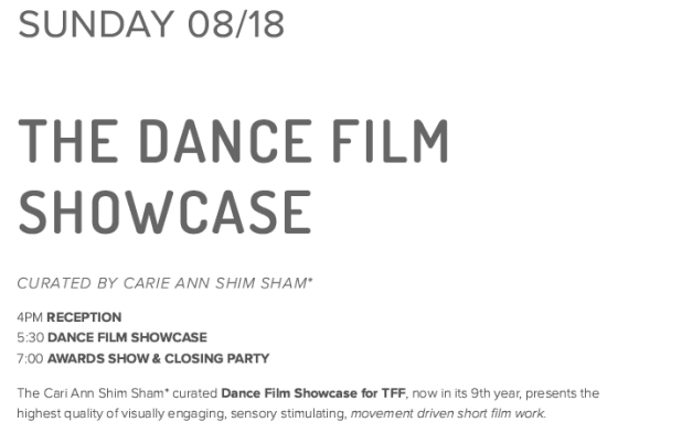 Topanga Film Festival, Dance Film Showcase