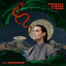 Pascuala Ilabaca with a gray jumpsuit, sorrounded by a cave, and a red snake, on her back a volcano and a la labyrinth.